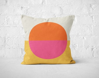 Geometric Throw Pillow, pink and orange boho decorative pillow for mid century decor. This vintage modern pillow is a great hostess gift.