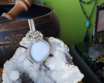 Blue Lace Agate in Sterling Silver wire wrapped bezel pendant