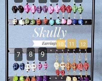 Howlite Skully dangle earrings in fun colors