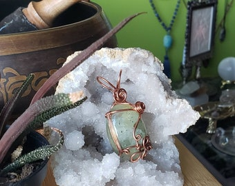 Prehnite with Epidote cabochon with  copper Butterfly wire wrapped pendant ~Silhouette Series~