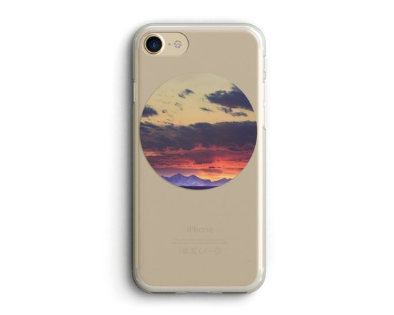 """cell phone case, iphone 6, iphone 6 plus, iphone 7, iphone case, photo art, landscape photo, landscape art, pink - """"Crazy Mountain Sunset"""