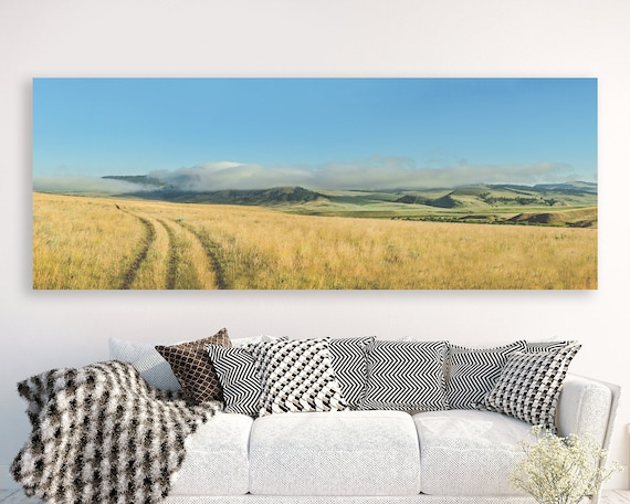 "panoramic landscape canvas, large panoramic landscape, large wall art, large colorful landscape, large art, canvas - ""Dewy Summer Morning"""