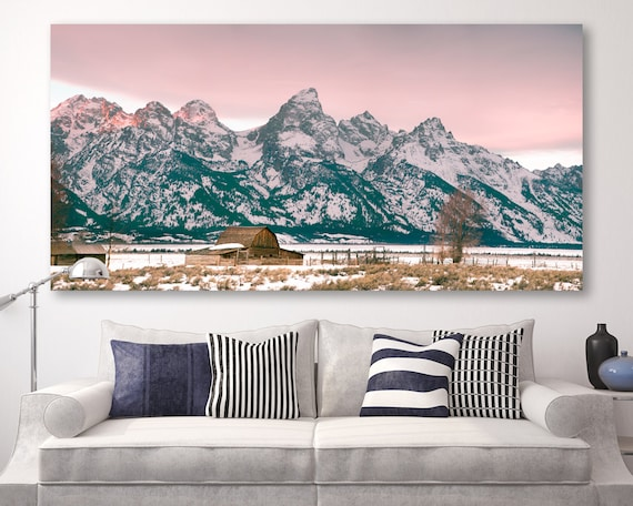 "landscape, tetons, mountains, grand tetons, barn, mormon row, large art, large wall art, large canvas wall art, sunset - ""Grand Tetons Barn"""