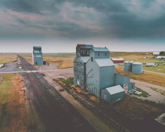 grain elevators, farmhouse wall art, farmhouse art prints, large farmhouse art, large wall art, photography, storm, sky - Broadview Storm