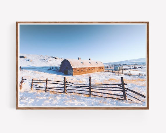Rustic Barn and Snowy Landscape Photography