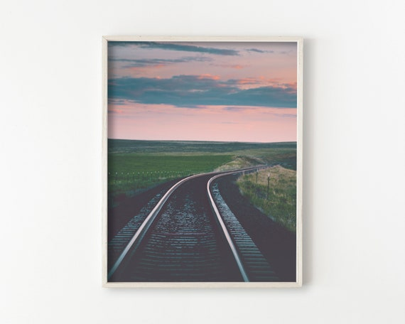 train tracks, wall art, railroad, large wall art prints, large photography wall art, landscape wall art, large wall art - Parallel Lines