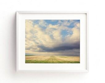 "landscape, fields, clouds, nature, farmhouse decor, farmhouse wall art, wall art prints, large art, large wall art,  - ""Across the Fields"""