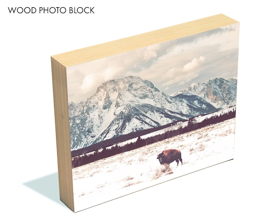 """Bison and Tetons"" - wood photo block"