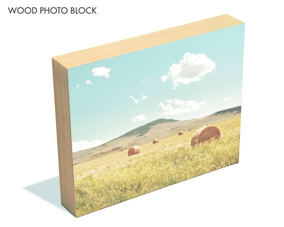 """A Day in the Fields"" - wood photo block"