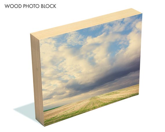 """Across the Fields"" - wood photo block"
