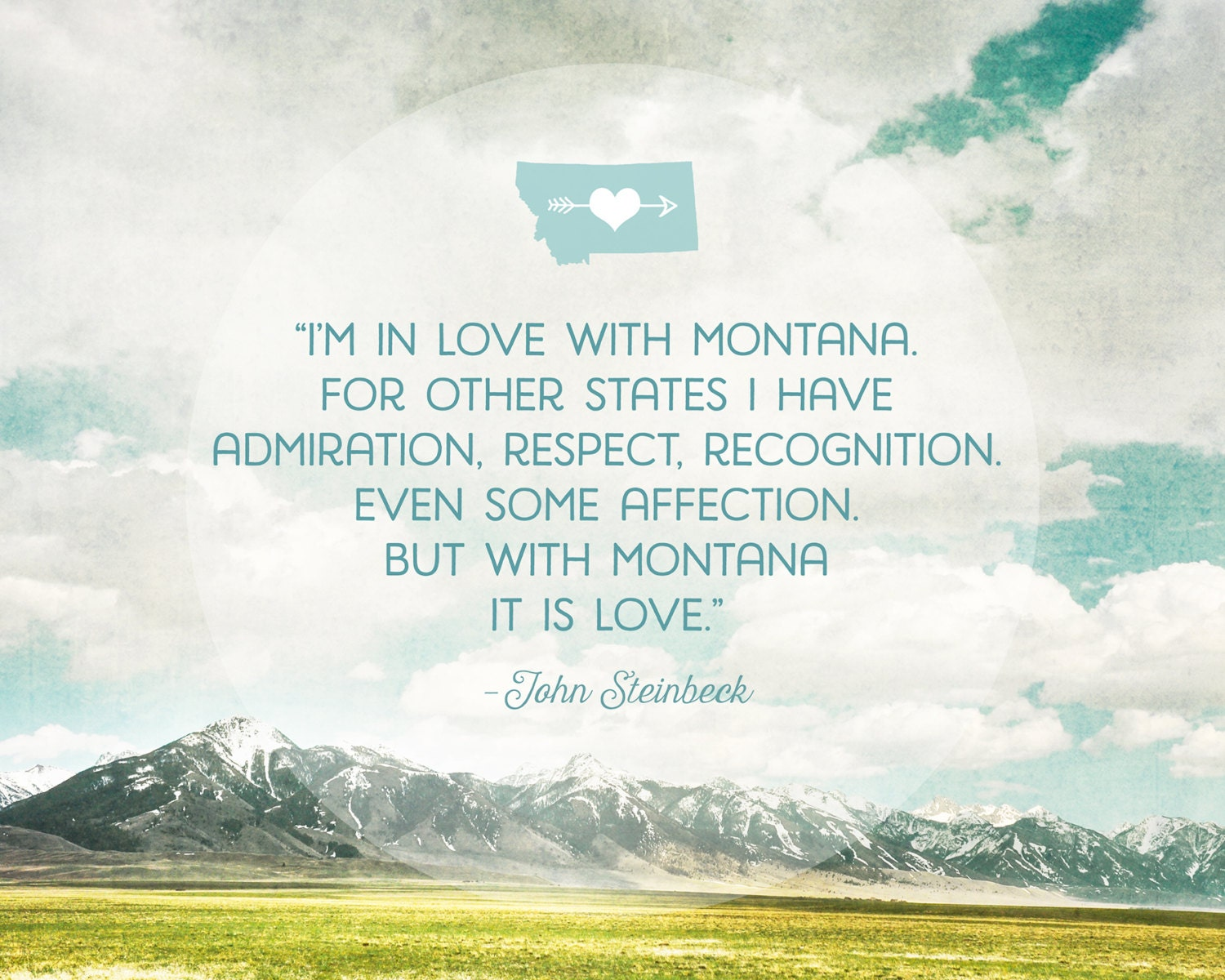 In Love With Montana Quote Wall Art