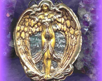Lilith/Goddess Rosary/Necklace/Pendulum/Scrying Mirror/Shadowbox/EnergyWork/Gothic /Victorian/Altar Set/Spellbound Gems(tm)/Hand Embossed/