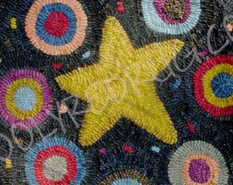 Penny Star Chair or Table Mat Rug Hooking Pattern