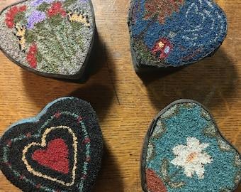 Heart Punch Needle Fabric Covered Treasure Box...FREE Shipping