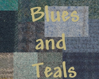 BLUES & TEALS ~ Wool Fabric for Rug Hooking, Applique, Quilting and more