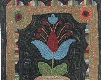 Hilda's Flower Rug Hooking Linen PATTERN ~ The 2018 Annual LJFibers Rug Project