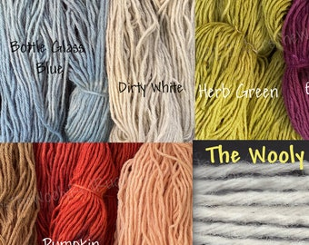 Rug Yarn ~ 6 ply ~ Hand-Dyed ~ 100% Wool for Rug Hooking,  Punch Rugs, Weaving and more