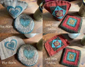Wool Hooked Mug Mat & Cozy ~ Your Choice ~ Free Shipping