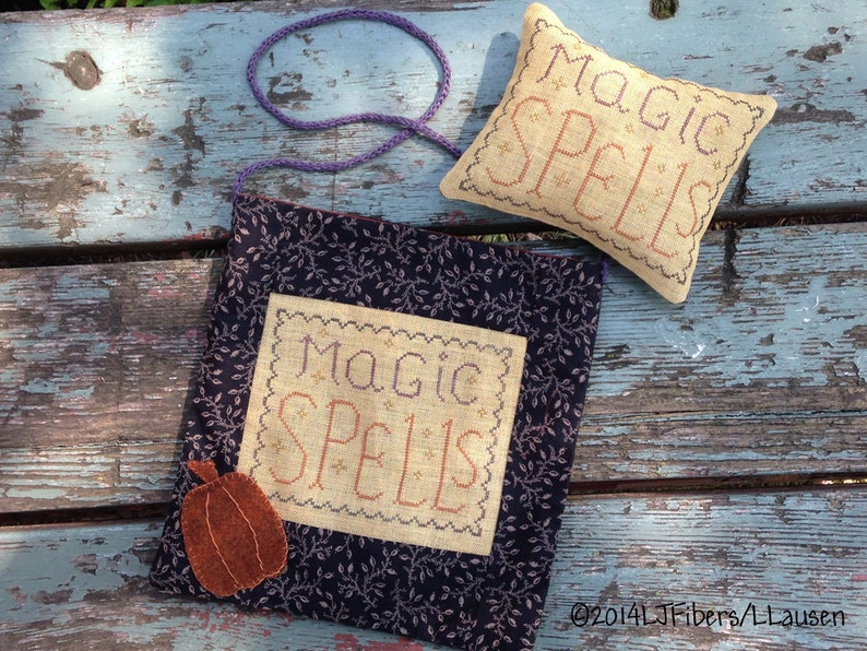 Magic Spells Bag and Pinkeep Cross Stitch PDF Pattern  image 0