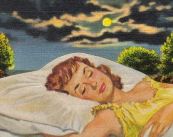 Original Mixed Media Art Collage, Scenic Dreamscape, Sweet Dreams Artwork, Peaceful Art, Dreamy Landscape, Dreamy Art Postcard