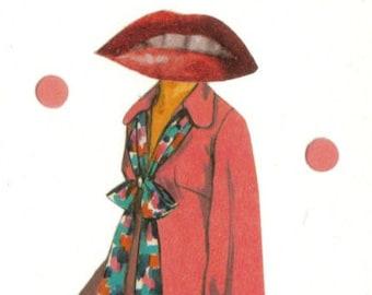 Original Collage, Pretty Pink Lips Art, Retro Fashion Illustration, Pink Artwork