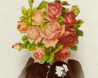 Original Art, OOAK Artwork, Altered Photo, Collage Portrait, Rose Bouquet, Flower Face