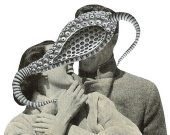 Surreal Art, Original Collage, Weird Love, Strange Couple, Odd Artwork