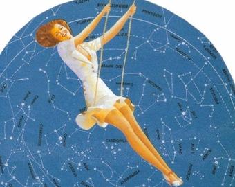OOAK Original Collage, Constellation Art, Star Map Artwork, Starry Night Sky Wall Art