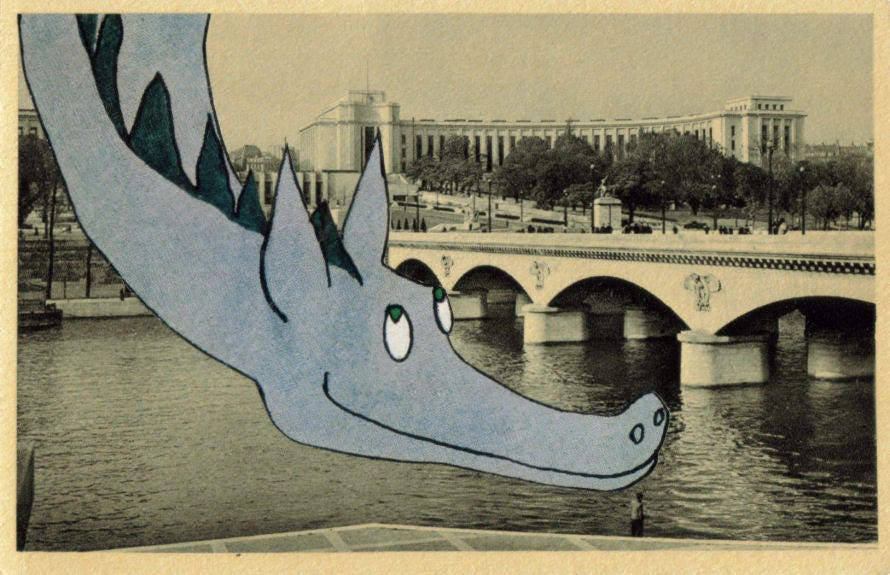 Original,Collage,Art,,Paris,Postcard,,Dragon,Artwork,Original Collage Art, Paris Postcard, Dragon Artwork