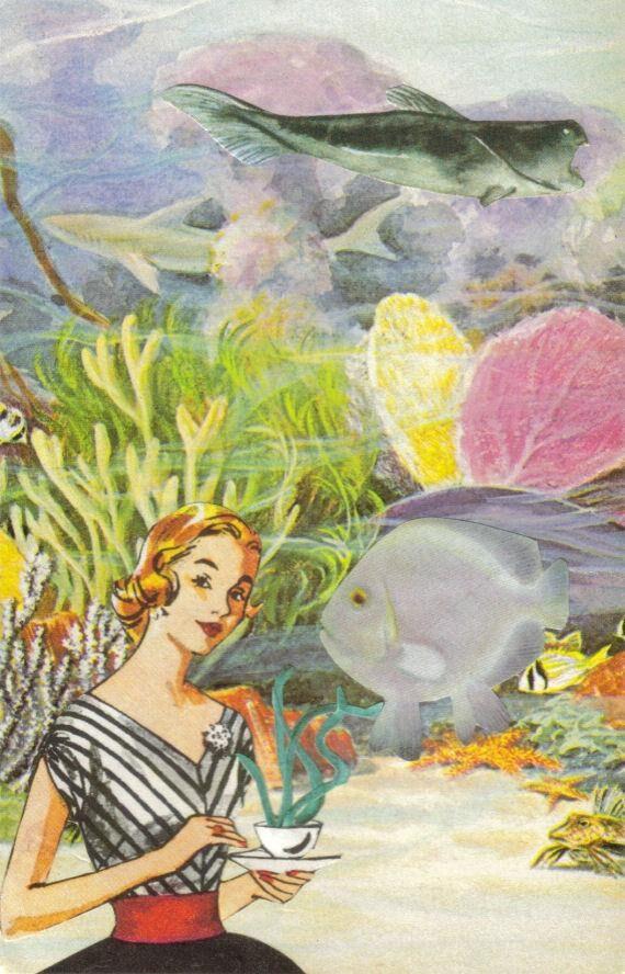 Original,Collage,Art,,Fish,Artwork,Original Collage Art, Fish Artwork
