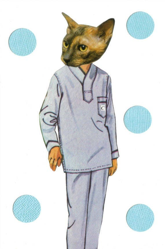Original,Collage,Art,,The,Cat's,Pajamas,,Feline,Artwork,Original Collage Art, The Cat's Pajamas, Feline Artwork
