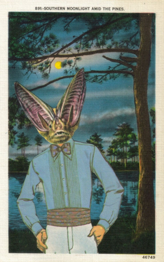 Original,Collage,Art,,Anthropomorphic,Bat,Artwork,Original Collage Art, Anthropomorphic Bat Artwork