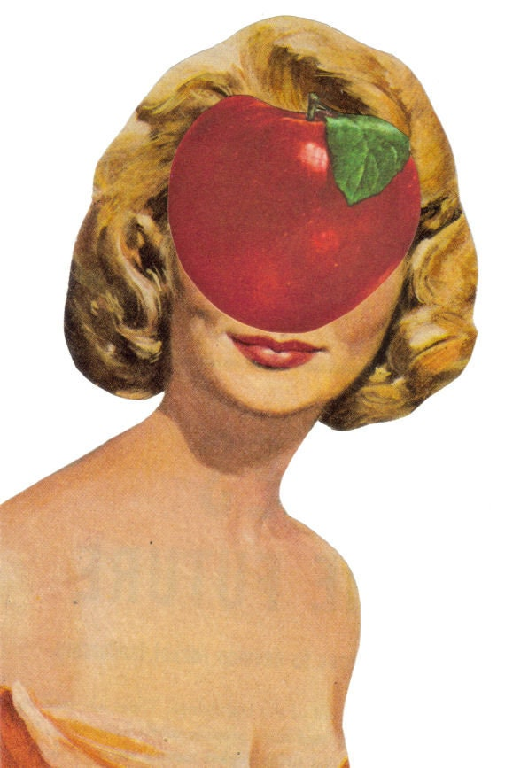 Original,Collage,Art,,Surreal,Apple,Artwork,Original Collage Art, Surreal Apple Artwork
