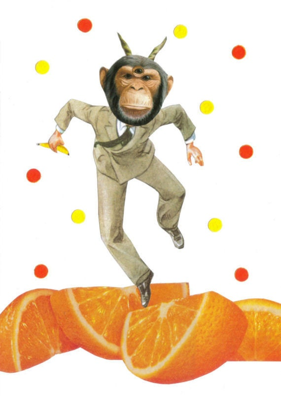 Original,Collage,Art,,Chimpanzee,Artwork,,Funky,Monkey,Original Collage Art, Chimpanzee Artwork, Funky Monkey