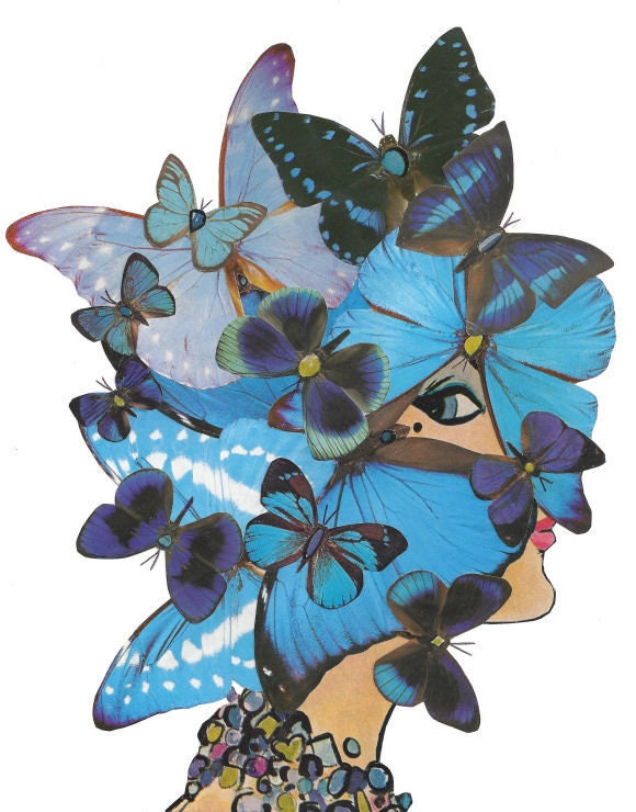 Original,Collage,Art,,Blue,Butterfly,Artwork,Original Collage Art, Blue Butterfly Artwork
