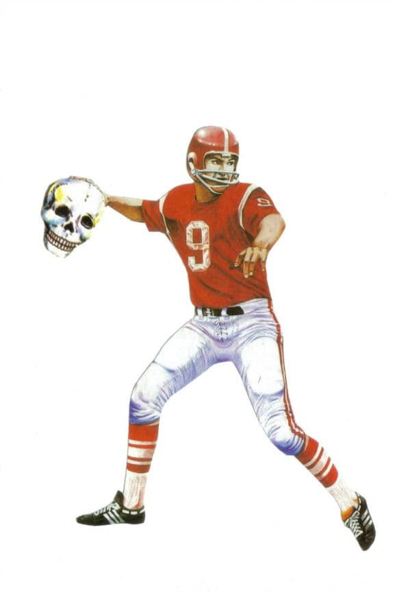 Original,Collage,Art,,Skull,Football,Artwork,,Sudden,Death,Original Collage Art, Skull Football Artwork, Sudden Death