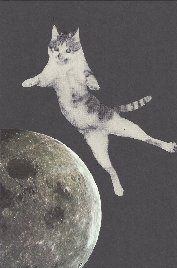 Original,Collage,Art,,Outer,Space,Cat,Artwork,Original Collage Art, Outer Space Cat Artwork