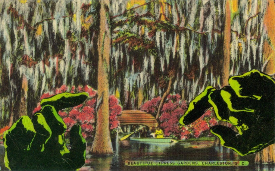 Original,Collage,Art,,Swamp,Monster,Artwork,Original Collage Art, Swamp Monster Artwork