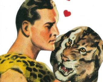 Original Collage, Jungle Love Art, Lion Artwork, Weird Romance, Romantic Artwork, Funny Boyfriend Gift for Girlfriend