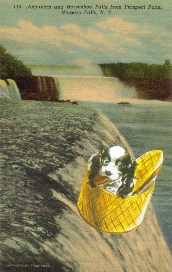 Original,Collage,Art,,Dog,Artwork,,Niagara,Falls,Postcard,Original Collage Art, Dog Artwork, Niagara Falls Postcard