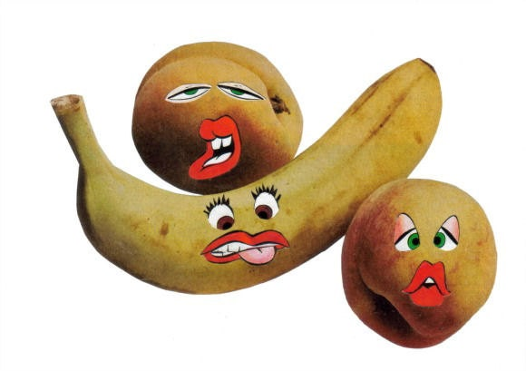 Original Collage Art, Funny Face Fruit Artwork - product images