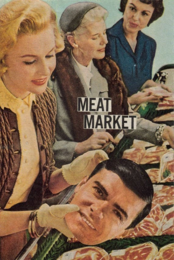 Original,Collage,Art,,Meat,Market,,Funny,Retro,Artwork,Original Collage Art, Meat Market, Funny Retro Artwork
