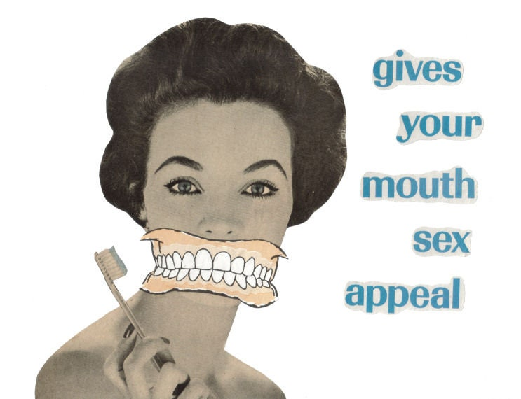 Original,Collage,Art,,Sexy,Teeth,Artwork,Original Collage Art, Sexy Teeth Artwork