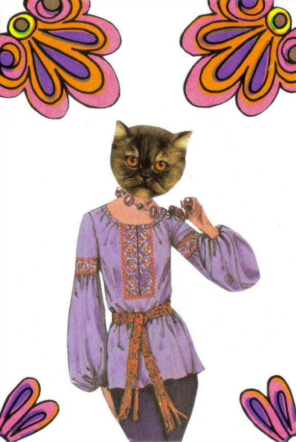 Original,Collage,Art,,Feline,Groovy,,Hippie,Cat,Artwork,Original Collage Art, Feline Groovy, Hippie Cat Artwork