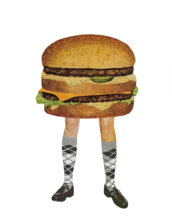 Original,Collage,Art,,Funny,Hamburger,Artwork,Original Collage Art, Funny Hamburger Artwork