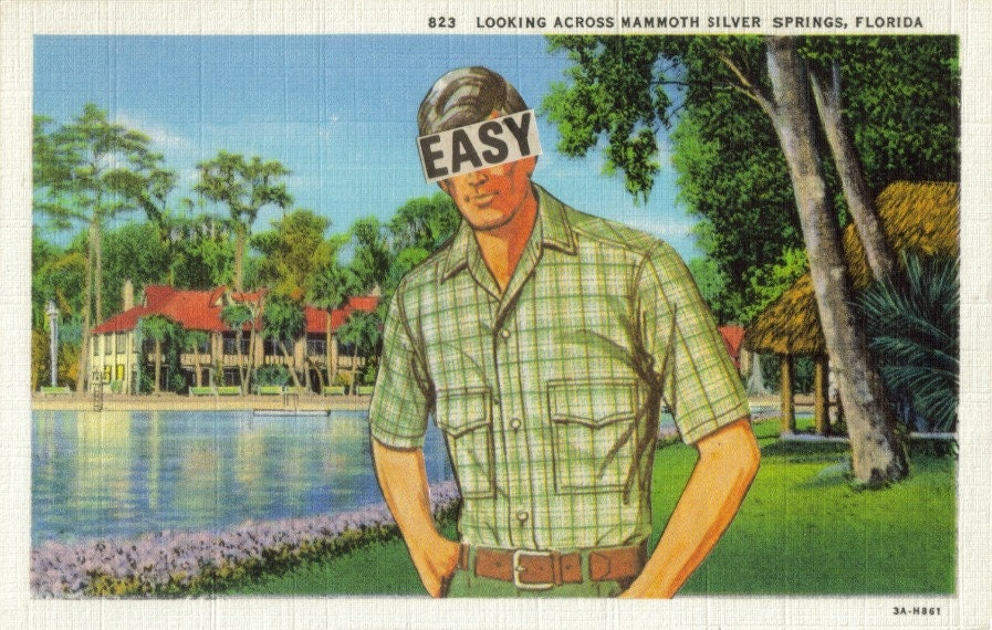Original,Collage,Art,,Easy,Green,Artwork,,Retro,Florida,Postcard,Original Collage Art, Easy Green Artwork, Retro Florida Postcard