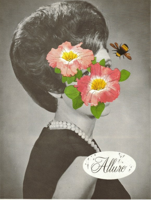 Original,Collage,Art,,Bee,and,Flower,Artwork,Original Collage Art, Bee and Flower Artwork