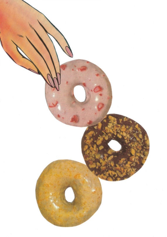 Original,Collage,Art,,Doughnut,Artwork,Original Collage Art, Doughnut Artwork