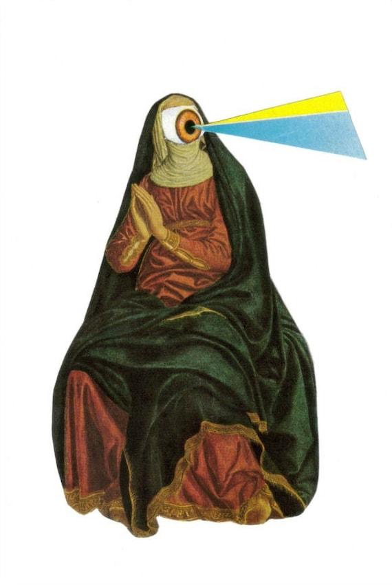 Original Art Collage Weird Wall Art Strange Nun Wall Decor | Etsy
