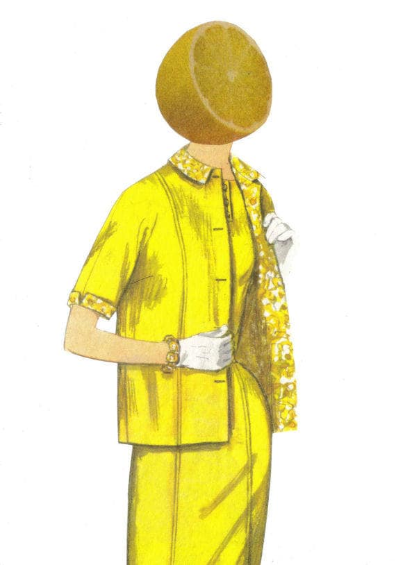 Original,Collage,Art,,Citrus,Fruit,Artwork,,Lemon,Head,Original Collage Art, Citrus Fruit Artwork, Lemon Head